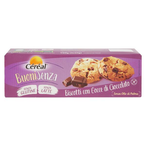 Biscotti con gocce di Cioccolato senza Glutine CEREAL 3x50gr