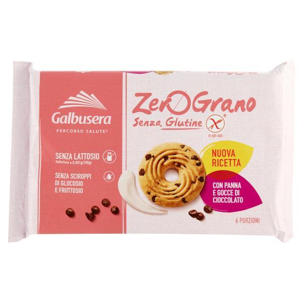 Biscotti con Panna e Gocce di Cioccolato senza Glutine Zerograno GALBUSERA 220gr