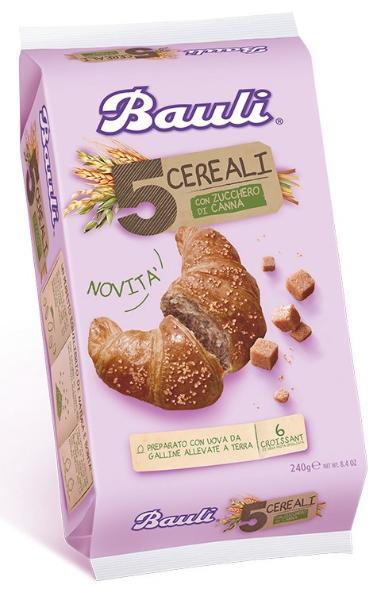 CROISSANT 5 Cereali Zucchero di Canna BAULI 6 x 40gr